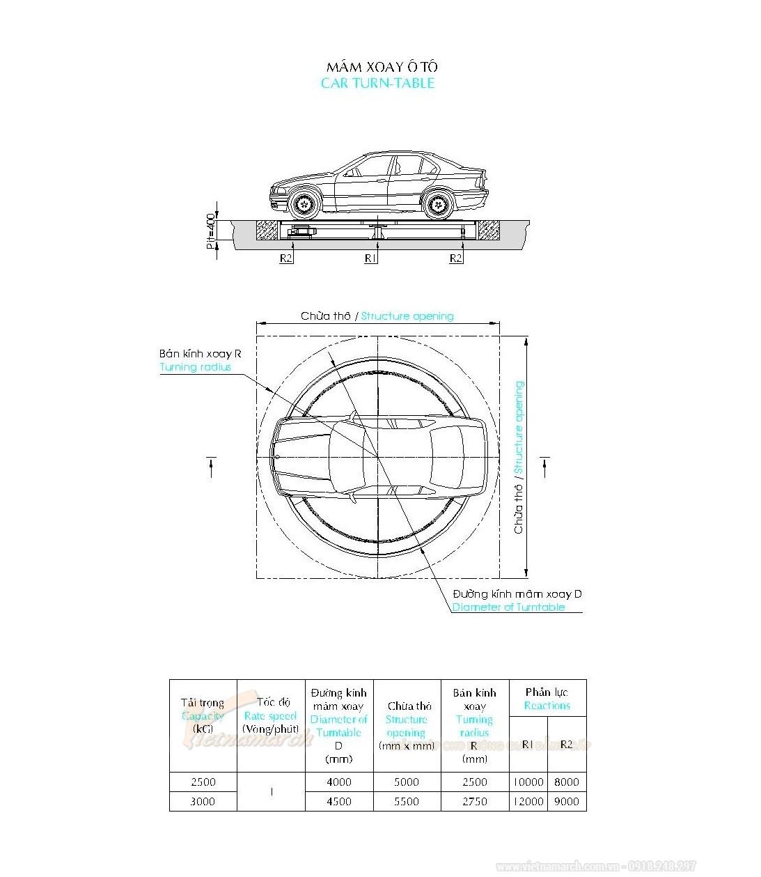Bản vẽ thiết kế bàn xoay ô tô
