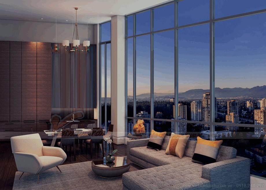 Bầu trời đêm tuyệt đẹp với không gian phòng khách căn hộ penthouse