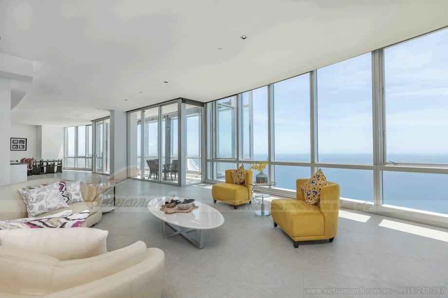 Phòng khách căn hộ penthouse sang trọng và đẳng cấp