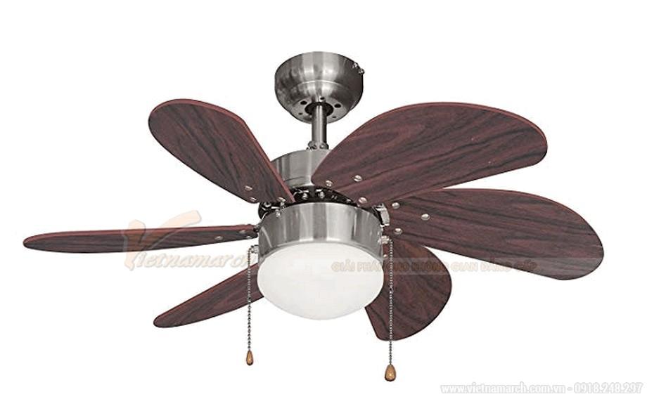 Quạt trần đèn trang trí cánh gỗ kết hợp đèn LED
