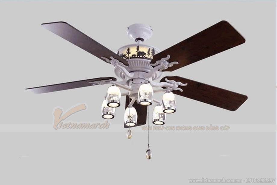 Quạt trần đèn cánh gỗ đèn chùm mang tới phong cách châu âu