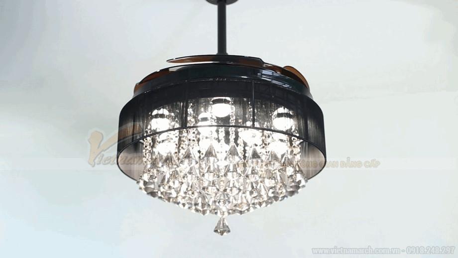 Quạt trần đèn LED chất liệu pha lê cao cấp vô cùng sang trọng và đẳng cấp