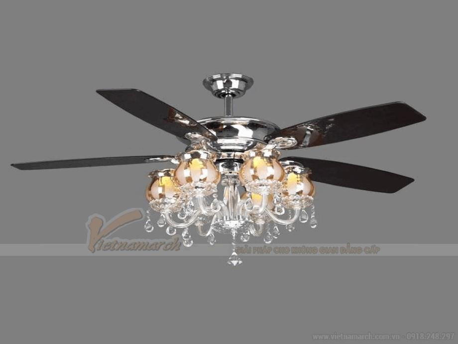Quạt trần đèn pha lê đem tới sự sang trọng và đẳng cấp cho ngôi nhà