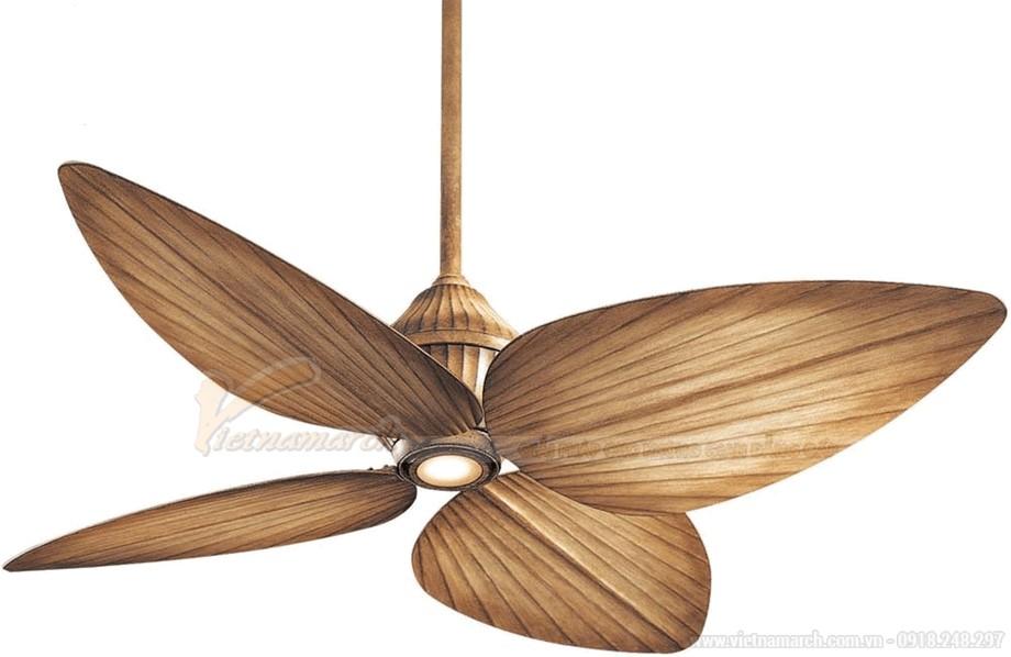 Quạt đèn trần đẹp với cánh gỗ
