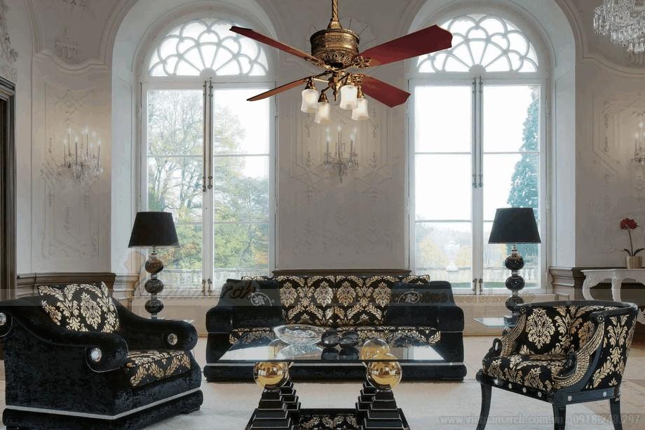 Mẫu đèn quạt trần cổ điển góp phần cho không gian phòng khách thêm sang trọng