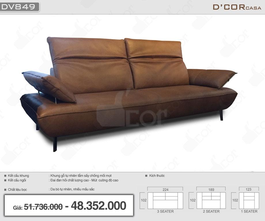 Sofa văng da bò thật 100% nhập khẩu Malaysia cho phòng khách độc, lạ DV849