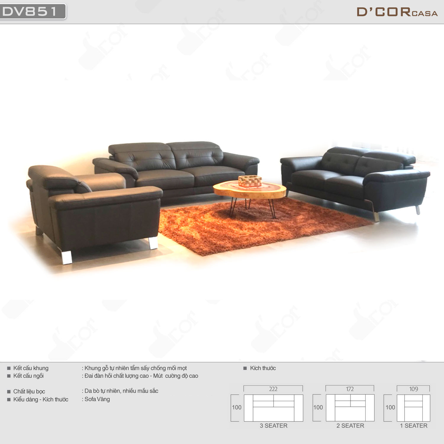 sofa văng da bò nhập khẩu Malaysia đẹp tự nhiên cho phòng khách sang trọng