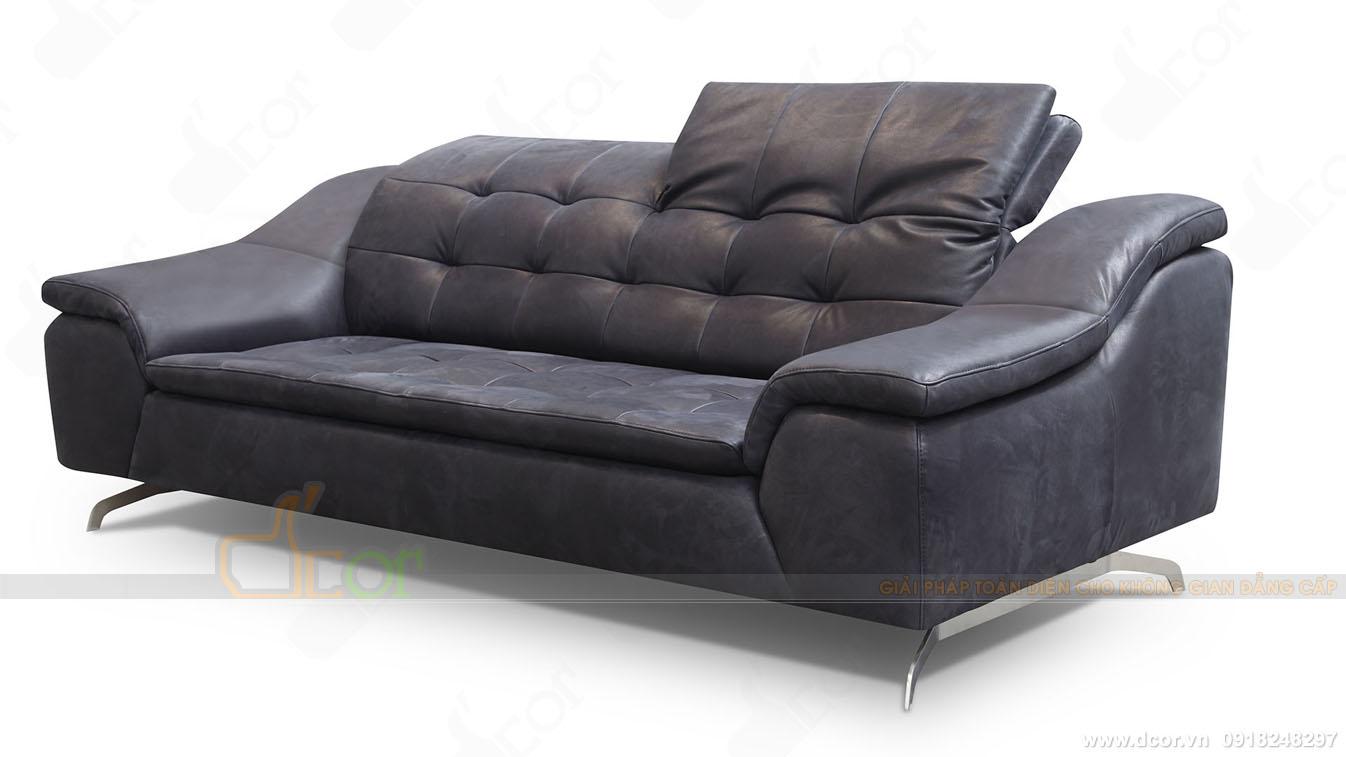 Sofa văng da nhập khẩu Ý da bò tự nhiên màu đen sang trọng