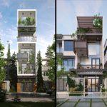 6 mẫu nhà phố cao tầng thiết kế hiện đại với cây xanh tràn ngập ban công
