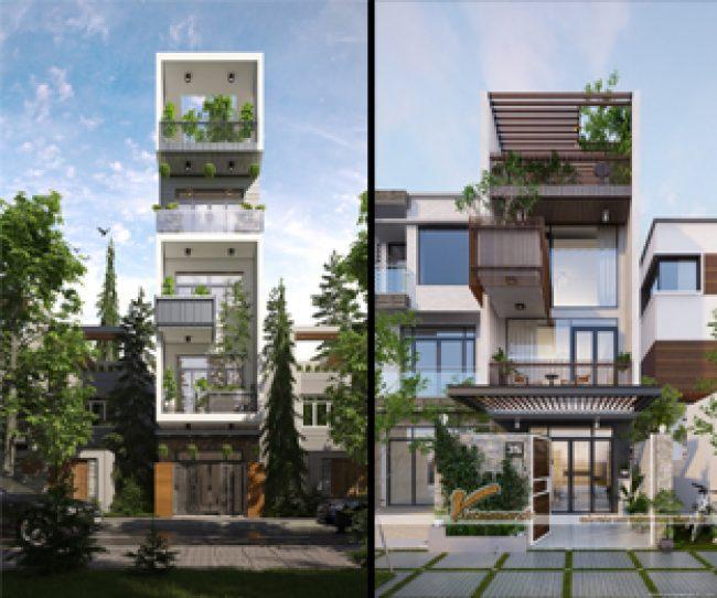 Thiết kế nhà phố hiện đại với nhiều cây xanh