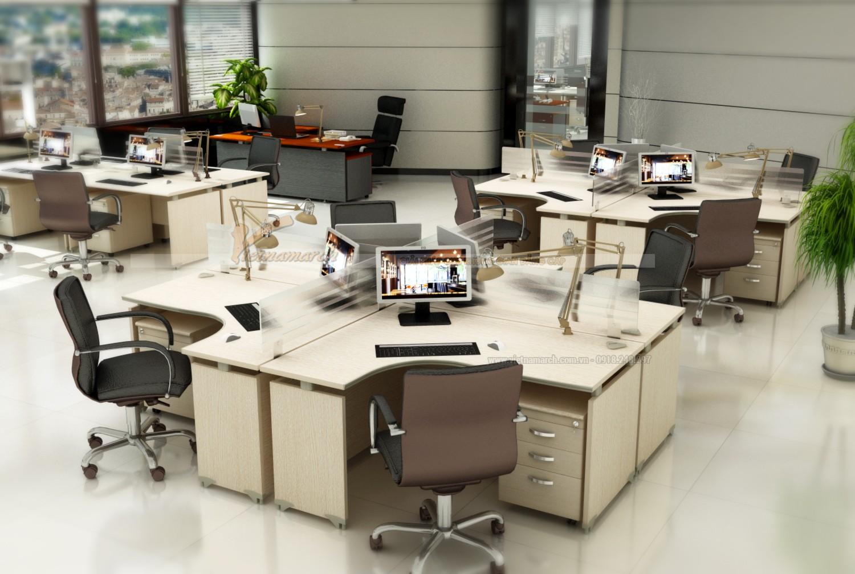 Bộ bàn ghế văn phòng dạng chữ X vừa có thiết kế mới lạ, đẹp mắt vừa tiết kiệm không gian