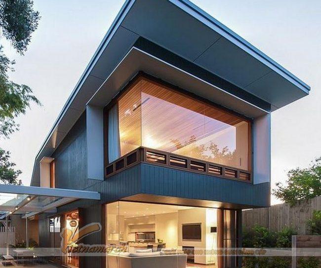 Mẫu 5: Thiết kế nhà phố sáng tạo với kính cường lực thay thế tường gạch