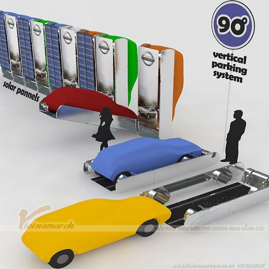 Hệ thống đỗ xe thông minh thẳng đứng được cấu tạo theo chiều dọc vuông góc với mặt đất.