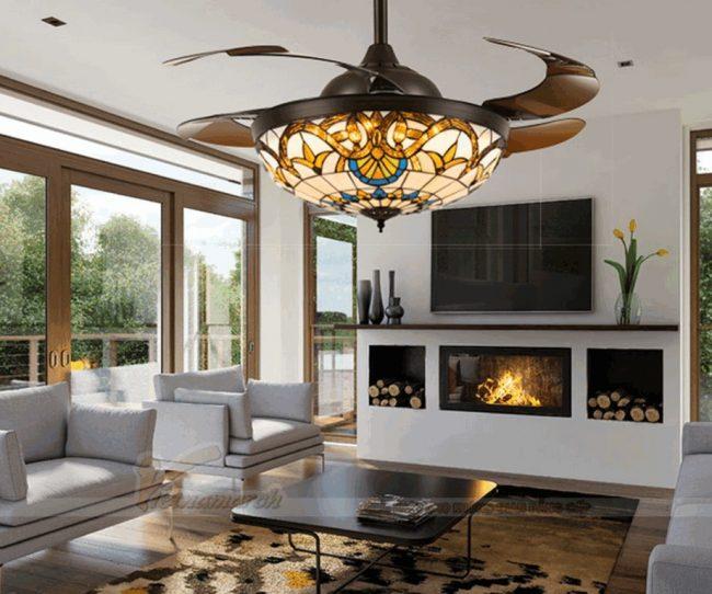 Quạt trần đèn đồng cho phòng khách thêm đẹp và đẳng cấp