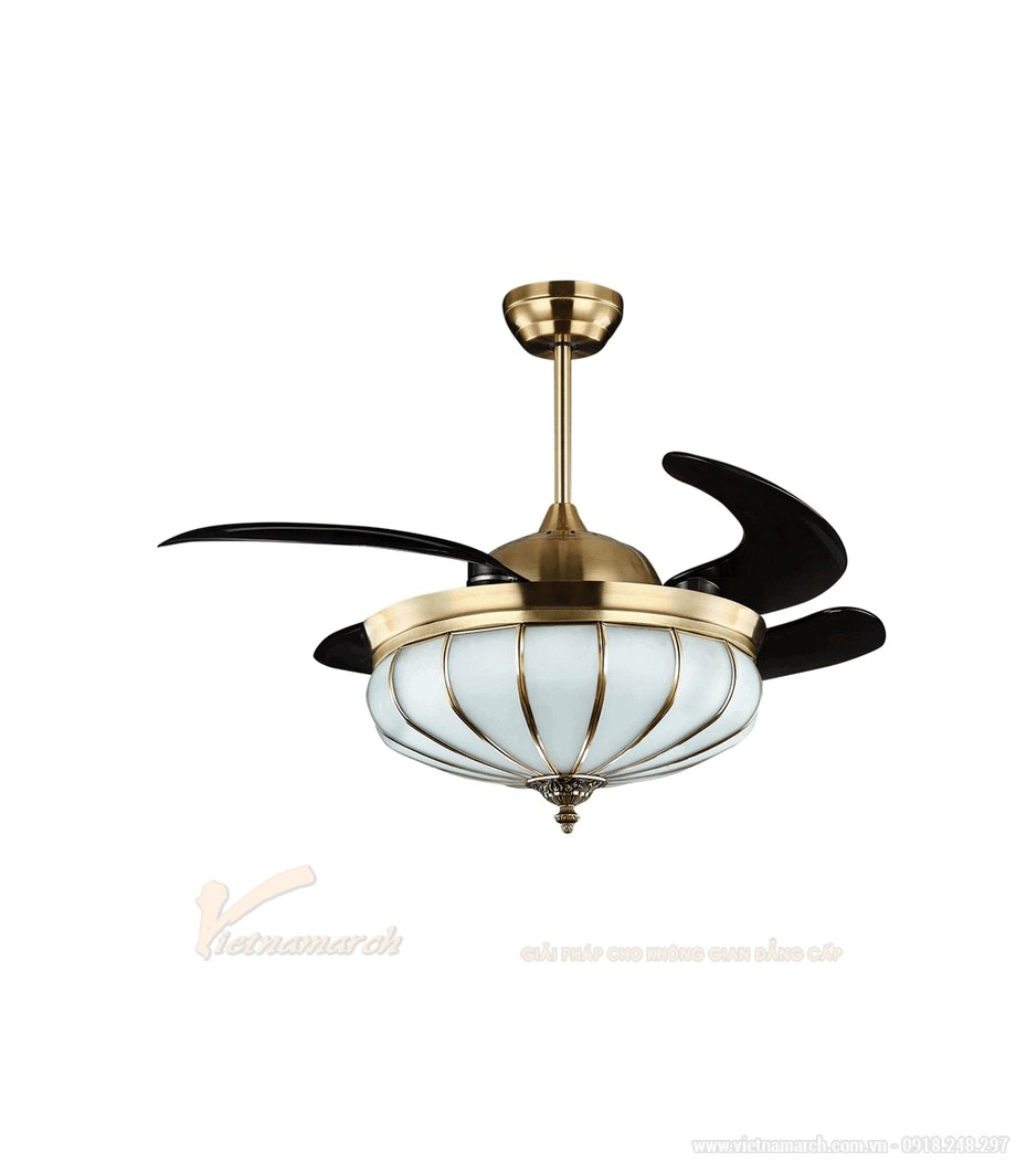 Quạt trần đèn đồng đẹp và hiện đại