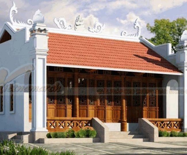 Thiết kế nhà thờ họ mái ngói đỏ truyền thồng đẹp mắt