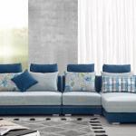 Độc đáo với sofa góc vải màu xanh dịu mát cho phòng khách