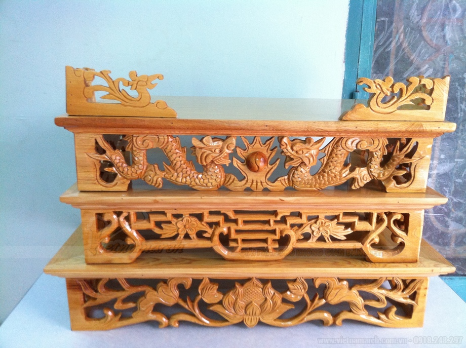10++ mẫu bàn thờ treo tường 2 tầng đẹp!
