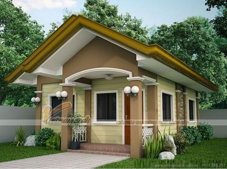 Mẫu 2: Mẫu thiết kế nhà cấp 4 kết hợp màu sắc hài hòa với thiên nhiên