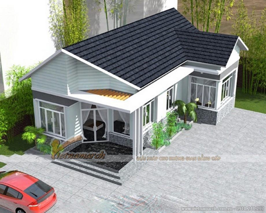 Mẫu 2: Thiết kế hiện đại với sắc trắng chỉ đạo và mái xám đen nổi bật