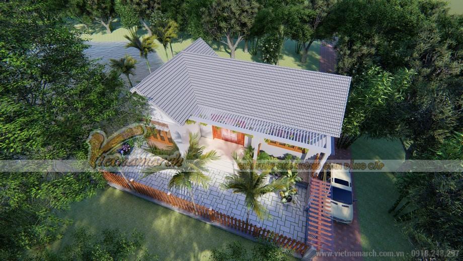 Mẫu 1: Nhà mái xám đơn giản phối hợp cùng sân lát đá cầu kỳ khéo léo