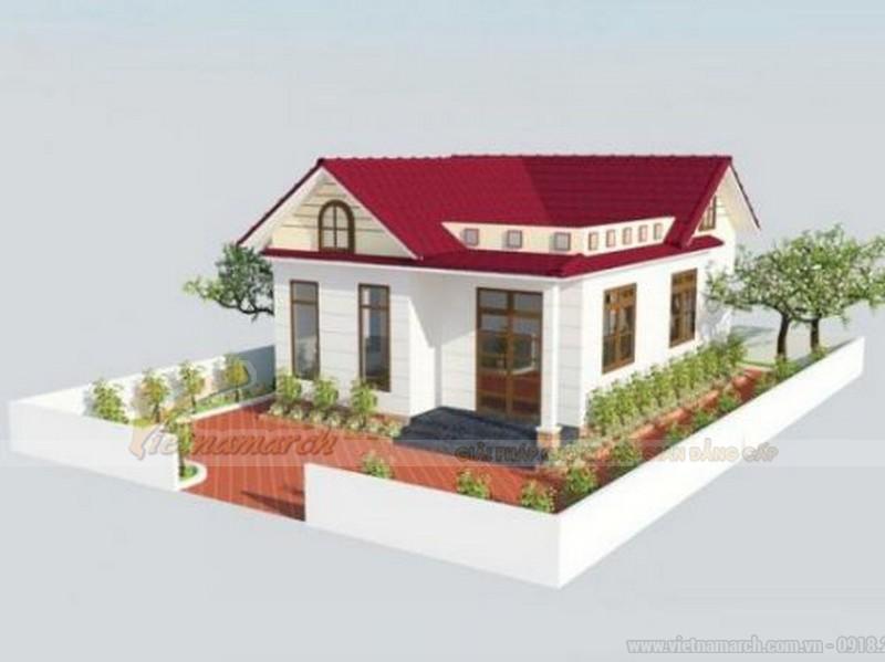 Bản vẽ mô hình HD nhà cấp 4 ở nông thôn có 3 phòng ngủ