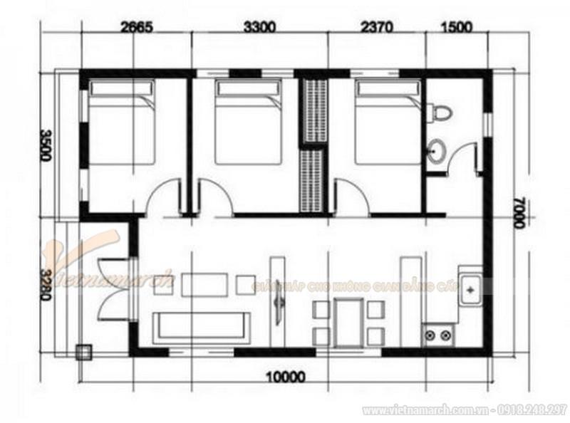 Bản vẽ thiết kế nhà cấp 4 nông thôn có 3 phòng ngủ