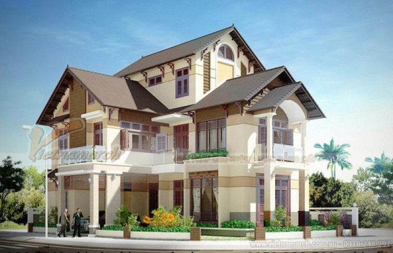 mái thái cũng mang lại vẻ hiện đại, sang trong cho căn biệt thự 3 tầng