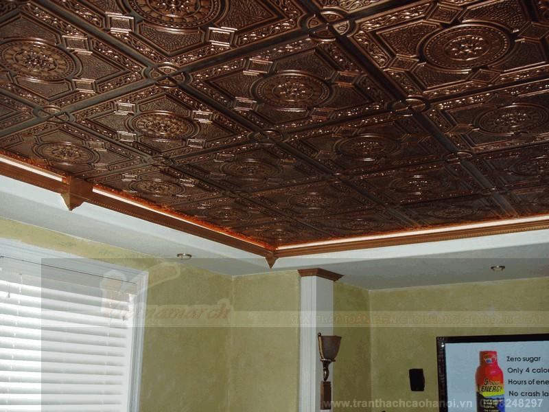 Trần thạch cao sơn giả gỗ đẹp 1