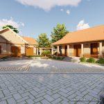 Phương án nhà thờ họ 3 gian thiết kế kết hợp nhà ở bê tông giả gỗ chi phí thấp của gia đình anh Sơn ở Hải Phòng