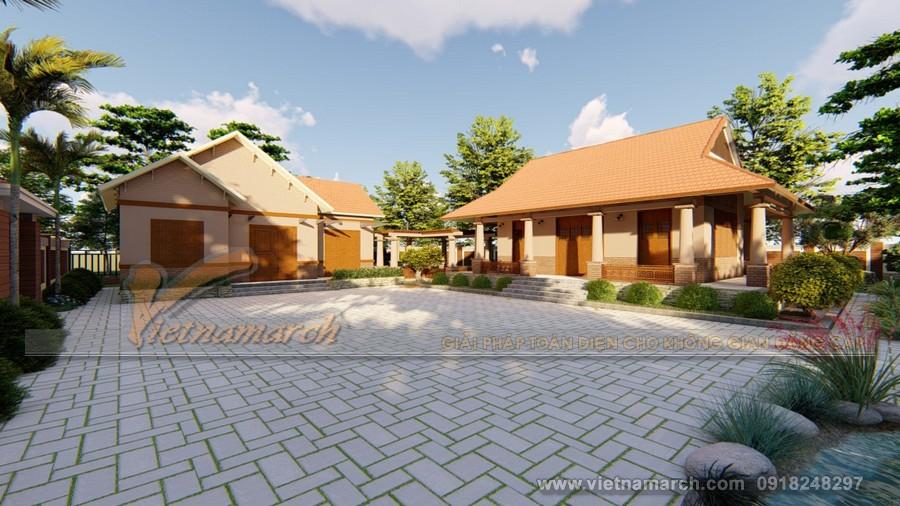 Phương án thiết kế nhà thờ họ 3 gian kết hợp nhà ở bê tông giả gỗ chi phí thấp của gia đình anh Sơn ở Hải Phòng