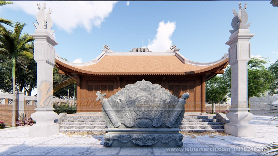 Mẫu thiết kế nhà thờ họ 3 gian 4 mái đẹp tại Sơn Tây