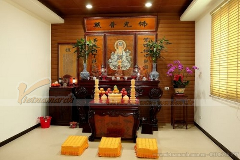 Mẫu bàn thờ phật tại gia đẹp hiện đại