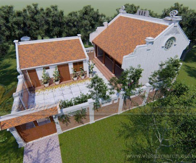Phương án thiết kế, thi công nhà thờ họ kết hợp nhà ngang của chú Tiến ở Nam Định