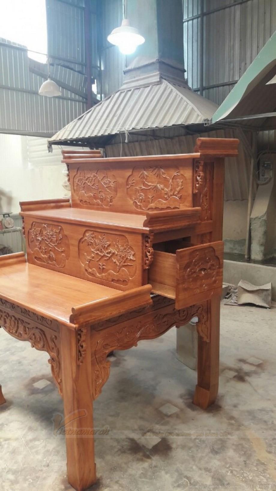 Chiêm ngưỡng mẫu bàn thờ gia tiên tam cấp đẹp