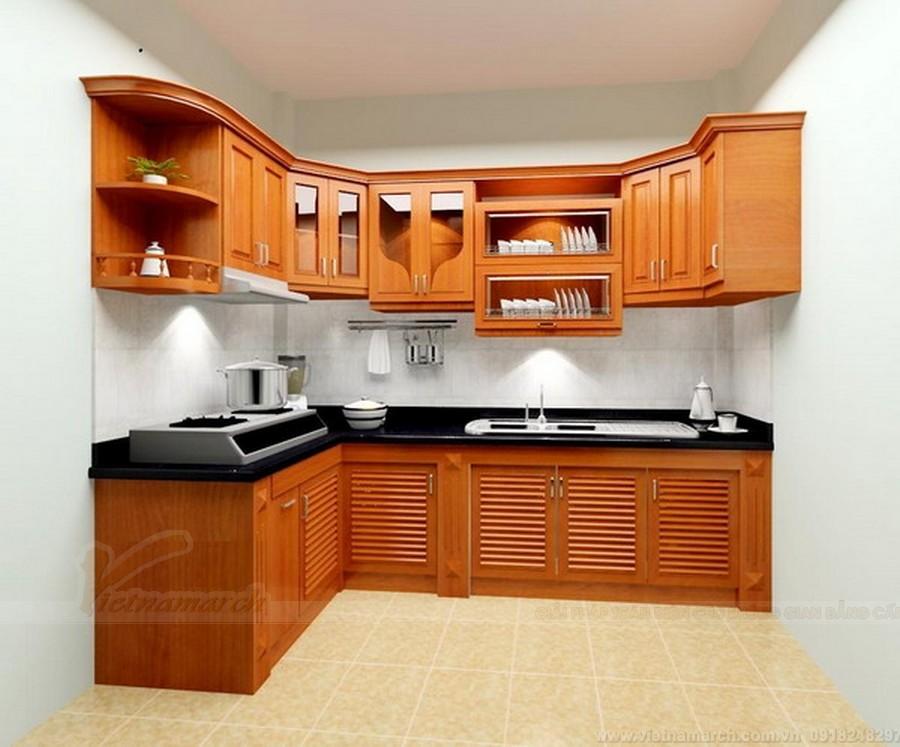 Một kiểu tủ bếp hình chữ L bằng gỗ khác rất được ưa chuộng từ xưa tới nay)