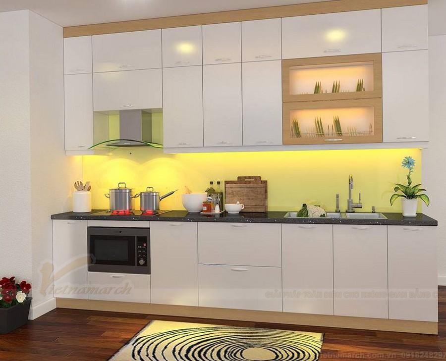 Kiểu tủ bếp đơn giản nhưng không kém phần tiện nghi, ấm cúng