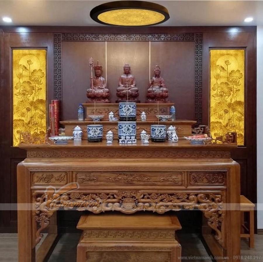 Chiêm ngưỡng 10++ mẫu bàn thờ Phật tại gia đẹp nhất hiện nay