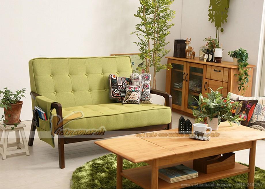 Mẫu sofa đôi chất liệu gỗ bọc đệm vải nỉ màu xanh nổi bật, ấn tượng