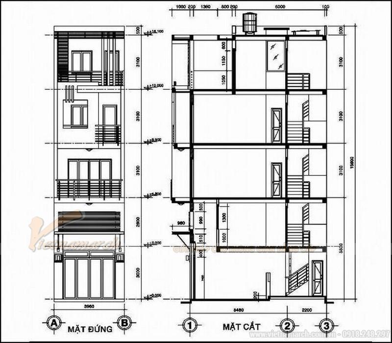 Bản vẽ thiết kế nhà ống 30m2 5 tầng