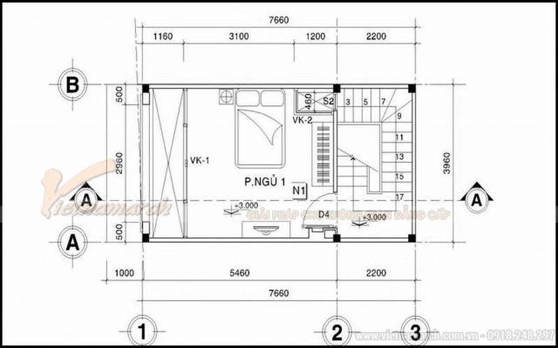 Bản thiết kế nhà ống 30m2 5 tầng - tầng 2