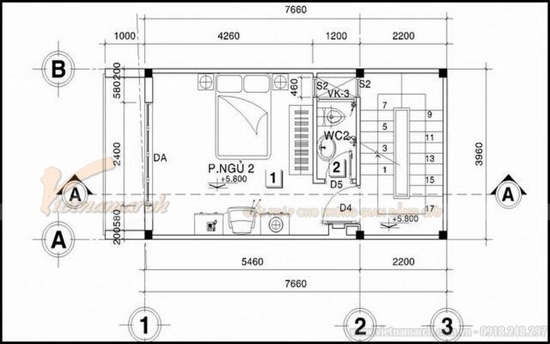 Bản thiết kế nhà ống 30m2 5 tầng - tầng 3