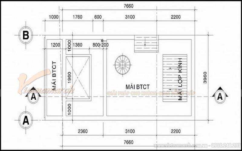 Bản thiết kế nhà ống 30m2 5 tầng - tầng 5