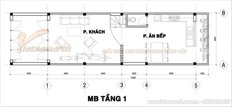 Thiết kế mặt bằng tầng trệt của mẫu nhà ống 30m2 giá cực rẻ - 3 tầng giá khoảng 700