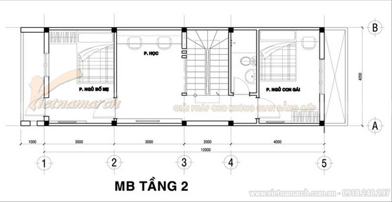 Thiết kế mặt bằng tầng 2 của mẫu nhà ống 30m2 giá cực rẻ - 3 tầng giá khoảng 700