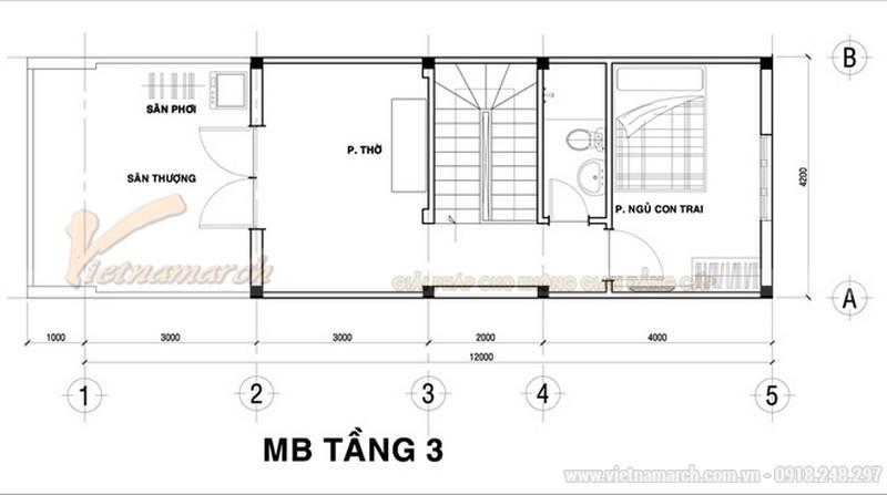 Thiết kế mặt bằng tầng 3 của mẫu nhà ống 30m2 giá cực rẻ - 3 tầng giá khoảng 700
