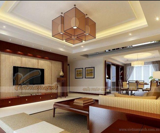 Trần thạch cao hộp phòng khách