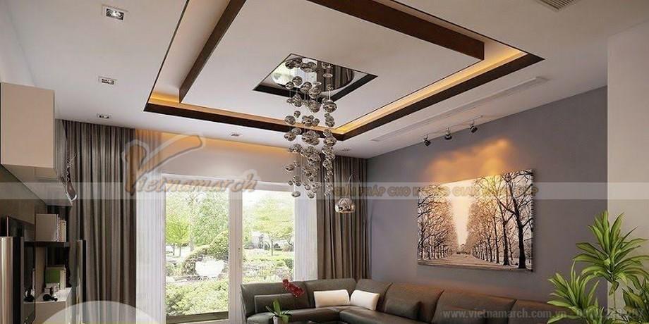 Hệ trần thạch cao phòng khách hiện đại giật cấp đẹp