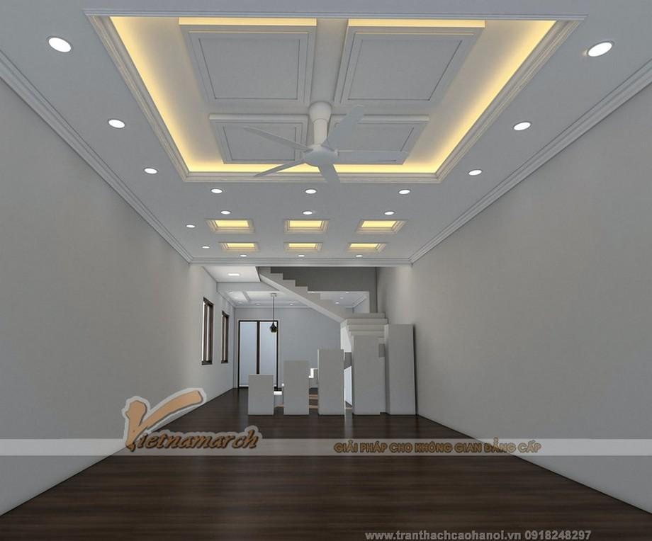 Hệ trần thạch cao phòng khách nhà ống đẹp hiện đại