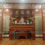 Lắp đặt thi công nội thất phòng thờ đẹp gỗ sồi cho biệt thự